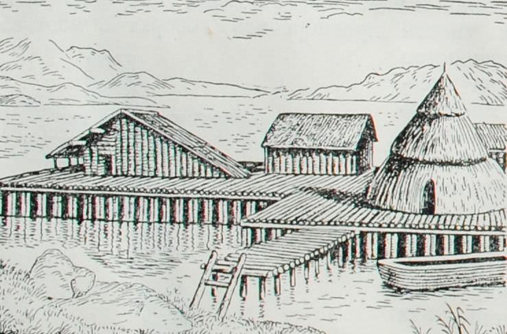 Свайные постройки. неолит - энеолит. Швейцария. Реконструкция.