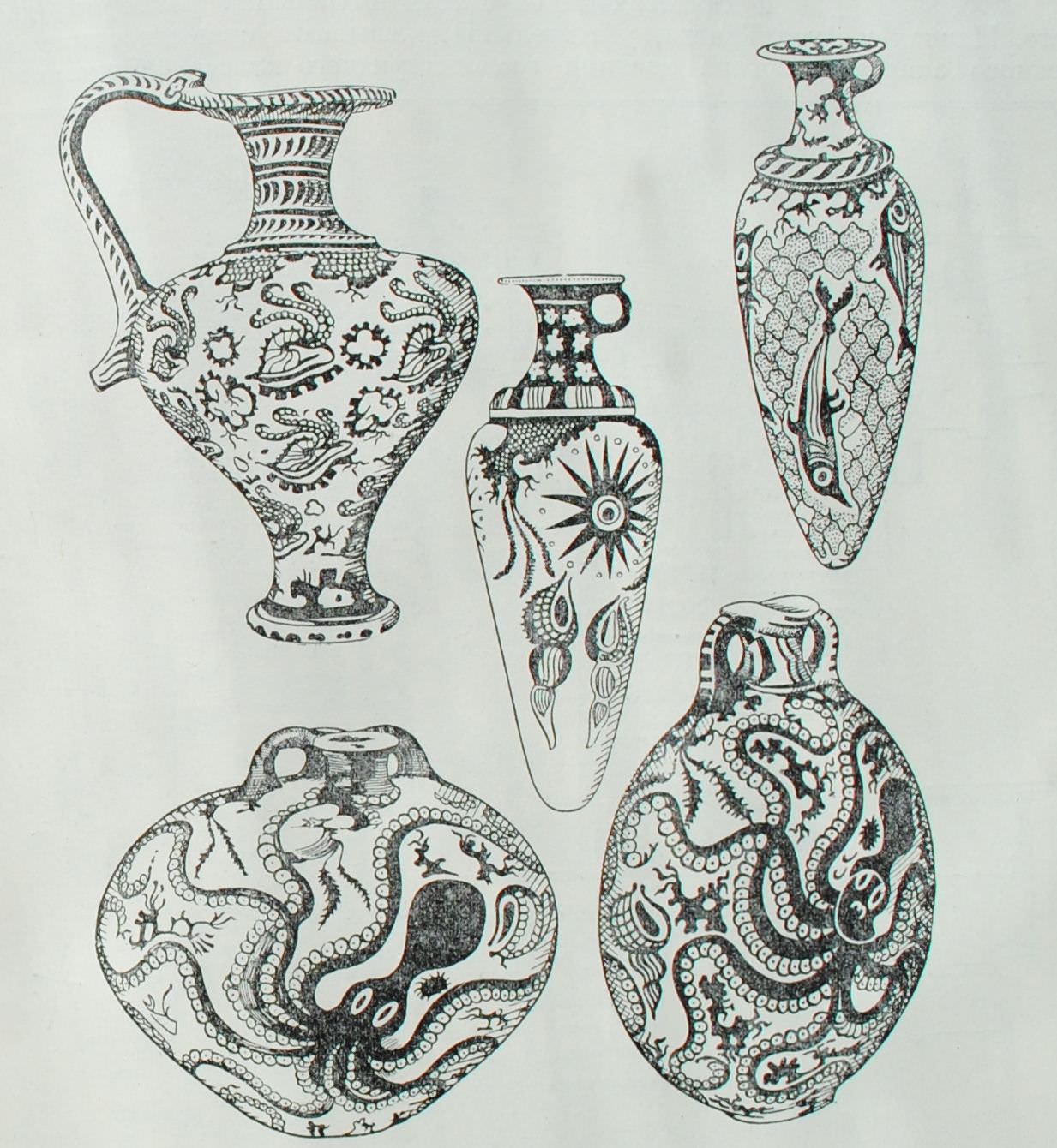 Глиняные сосуды позднеминойского периода. Из Гурнии, Палекастро и Кносса. остров Крит. XVI в. до н.э.