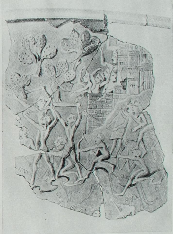 Изображение осажденного города. Фрагмент серебряного ритона (кубка для вина) из Микен.