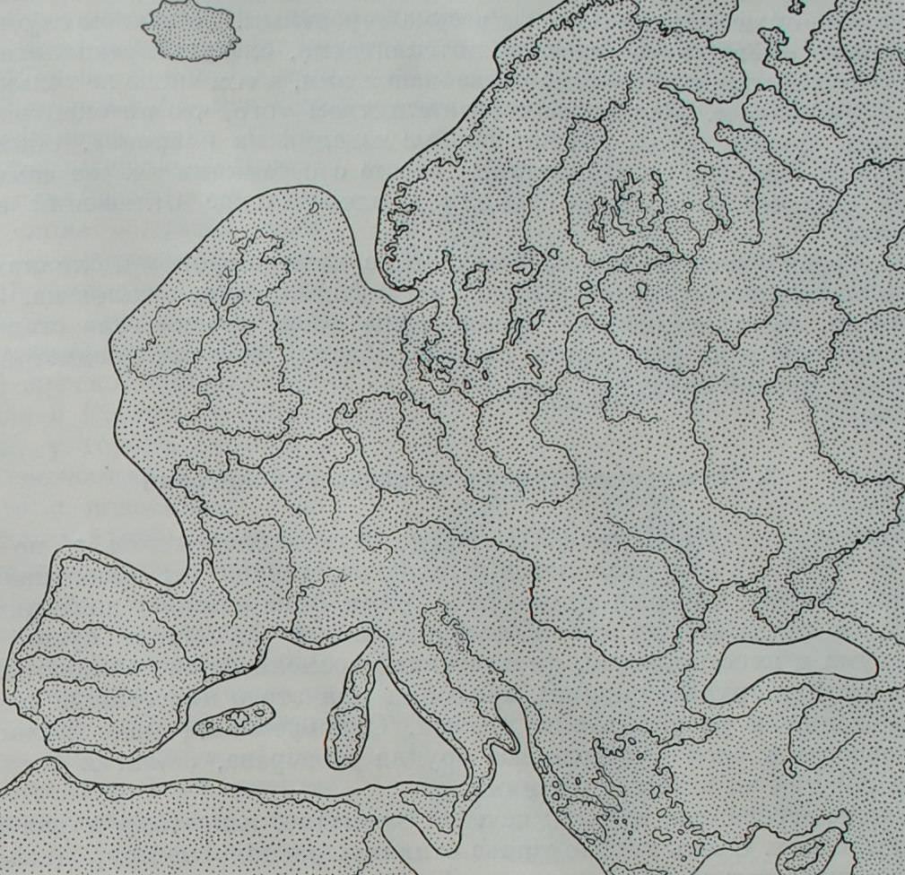 Очертания материка Европы в раннем плейстоцене.
