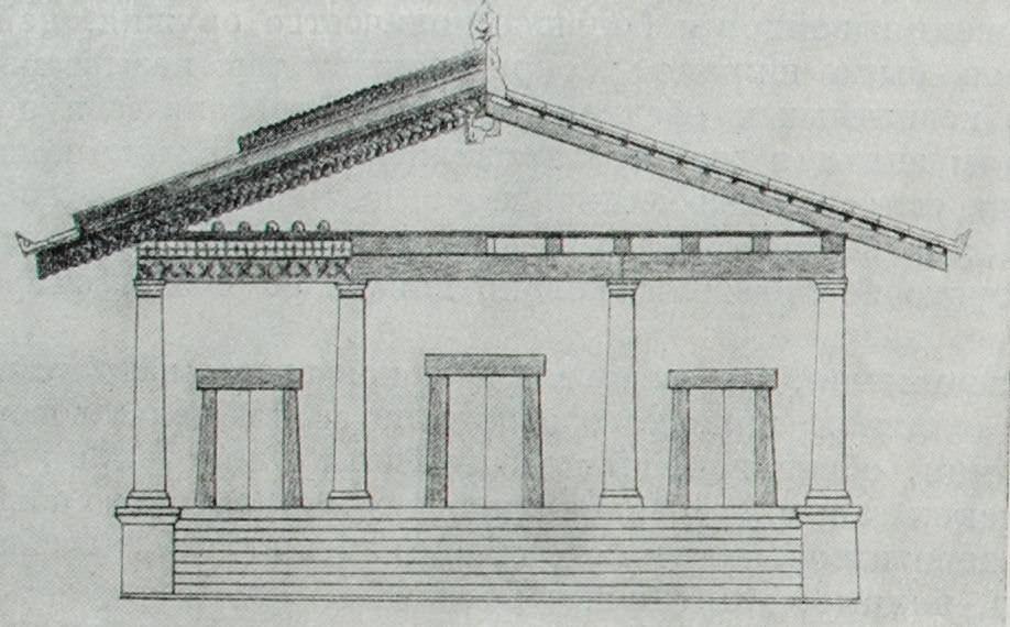 Этрусский храм верхней триады божеств. Реконструкция.