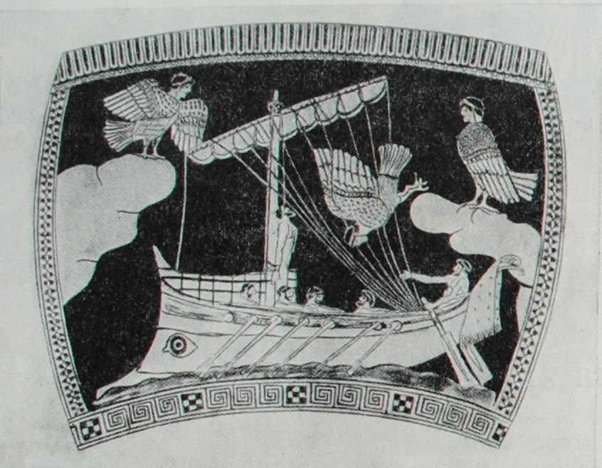 Корабль Одиссея проплывает мимо острова сирен. Рисунок на краснофигурной вазе. V - начало IV в. до н.э.