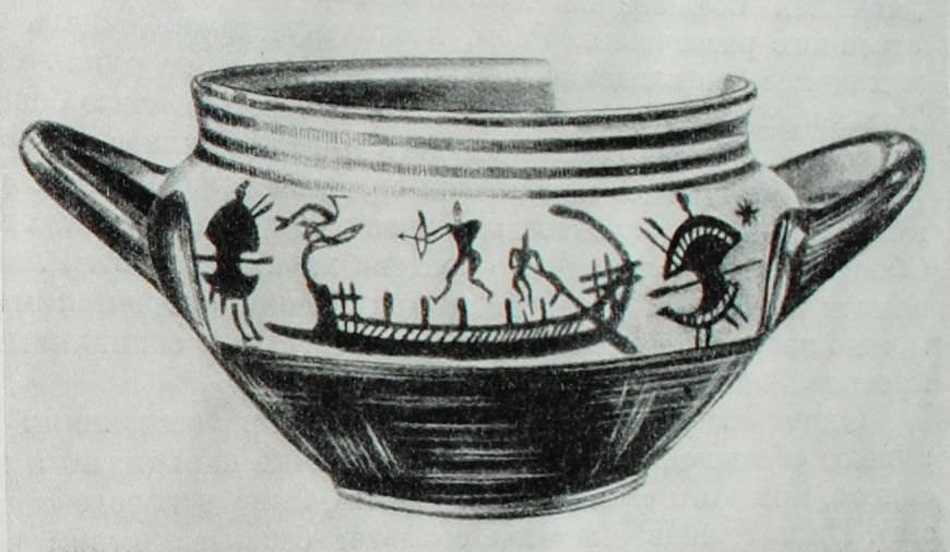 Аттическая ваза геометрического стиля.
