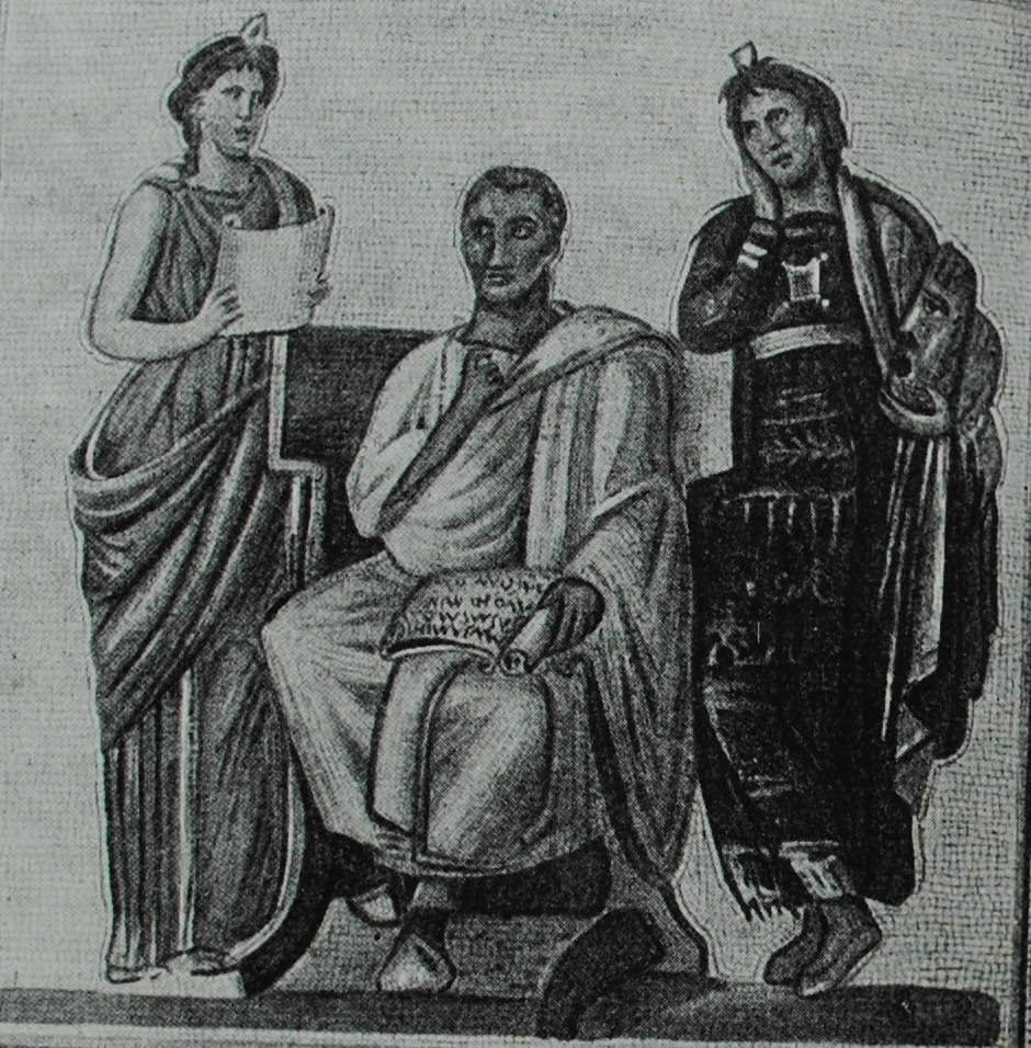 Вергилий и музы (Клио и Мельпомена). Мозаика из виллы в Сусе (Тунис). I в. н. э.