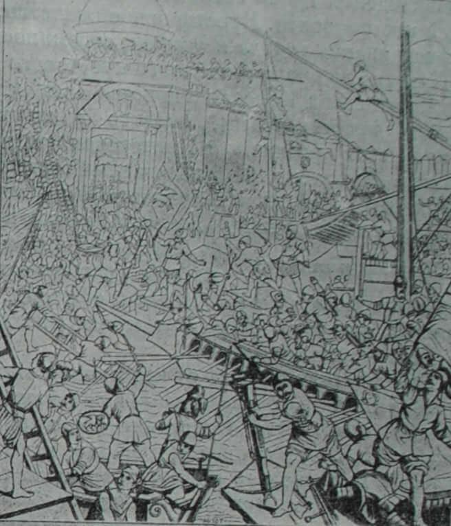 Взятие крестоносцами Константинополя в 1204 г. Фреска Тинторетто во Дворце дожей в Венеции. XVI в.