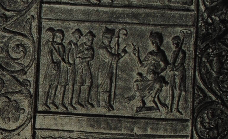 Барельеф двери Гнезненского собора. Деталь. XII в.