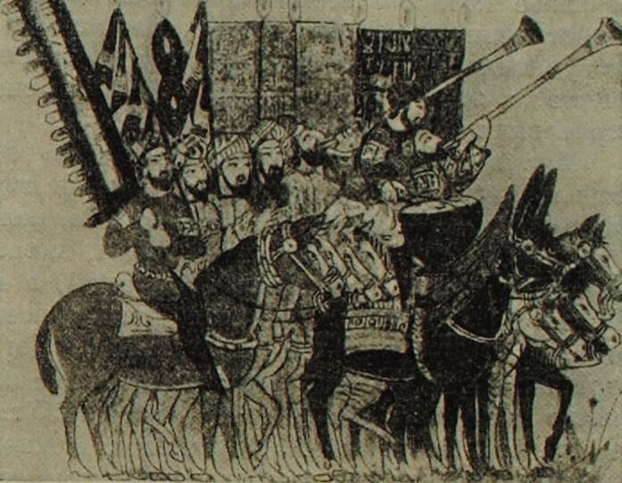 Знаменосцы и музыканты гвардии халифа. Арабская миниатюра. 1237 г.