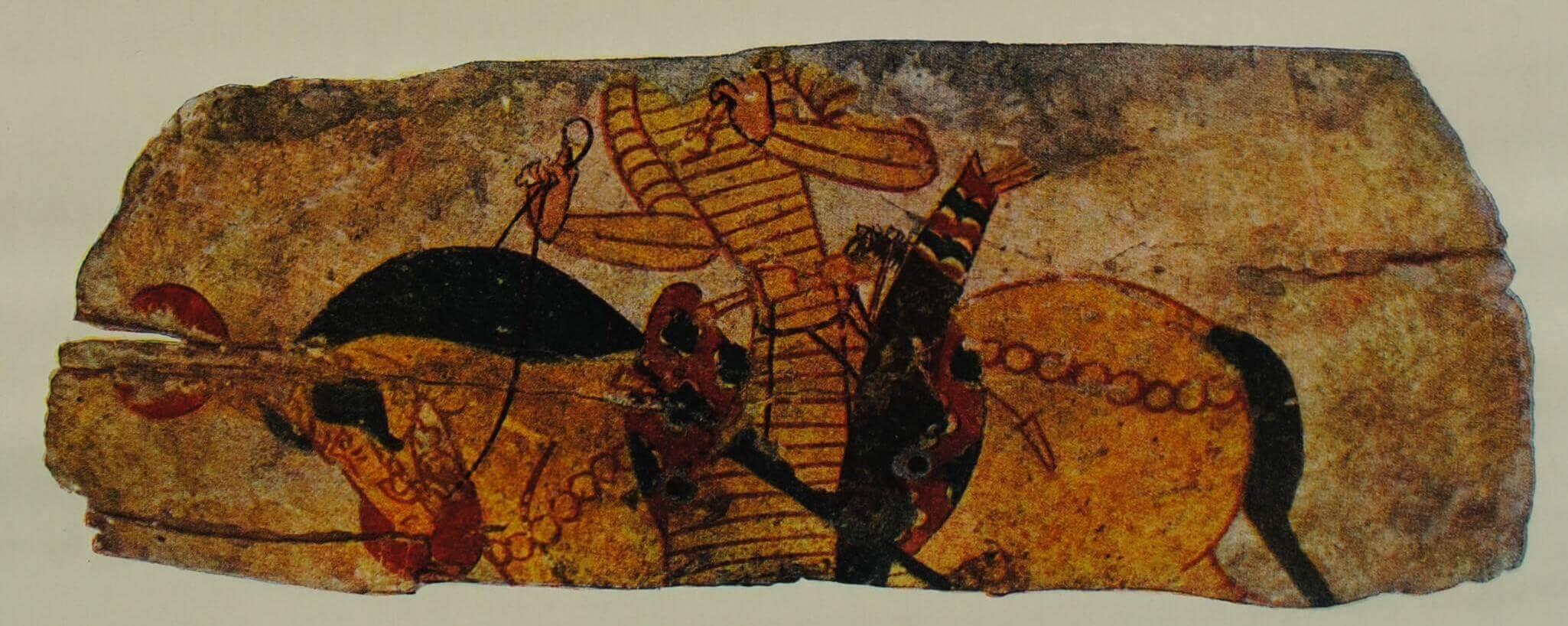 Деревянный щит с изображением всадника. Из раскопок на горе Муг (Средняя Азия). VII в.