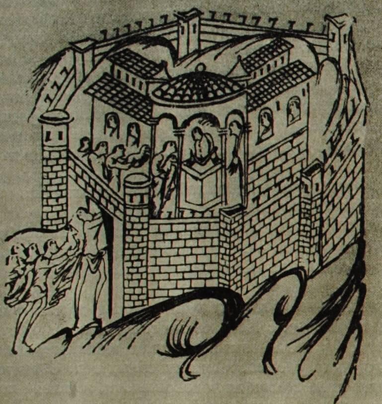 Жилище англо-саксонского феодала. Миниатюра из английской рукописи. XI в.