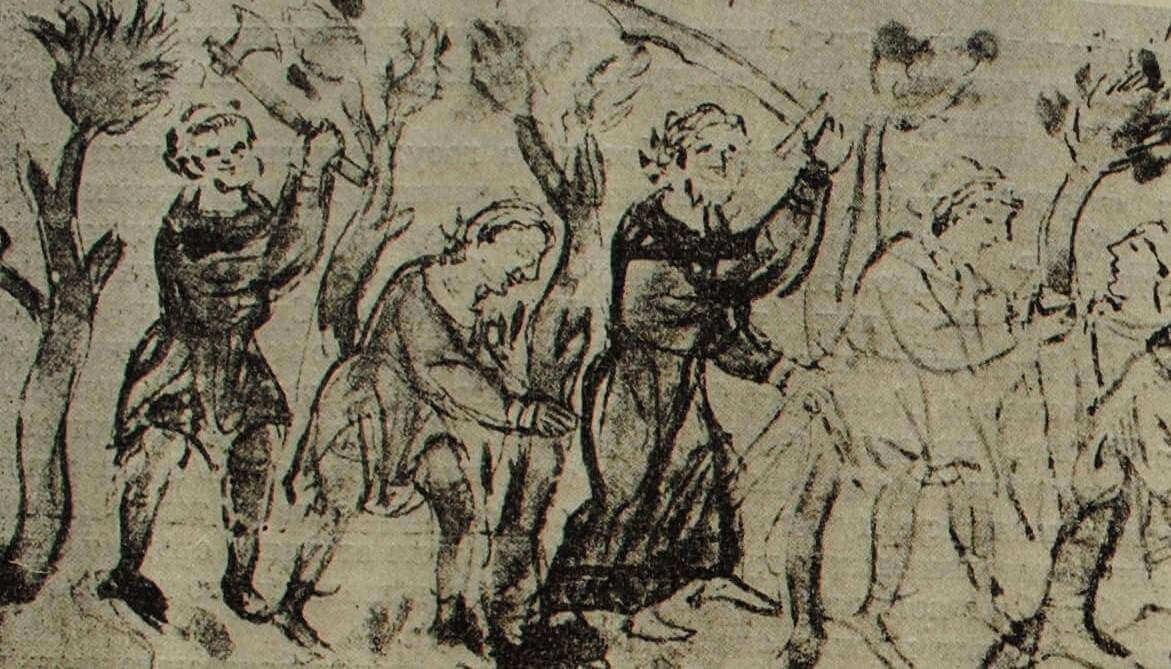 Крестьянское восстание на Белоозере в 1071 г. Миниатюра из Радзивиловской летописи. XV в.