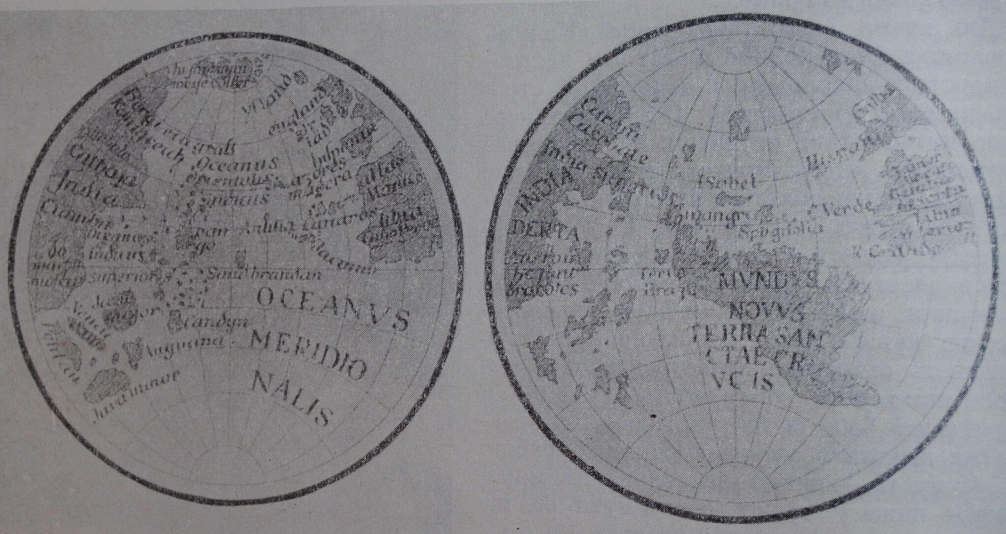 1. Глобус Мартина Бехайма 1492 г. (до открытия Америки). 2. Глобус Ленокса 1510-1512 гг. (после открытия Америки).