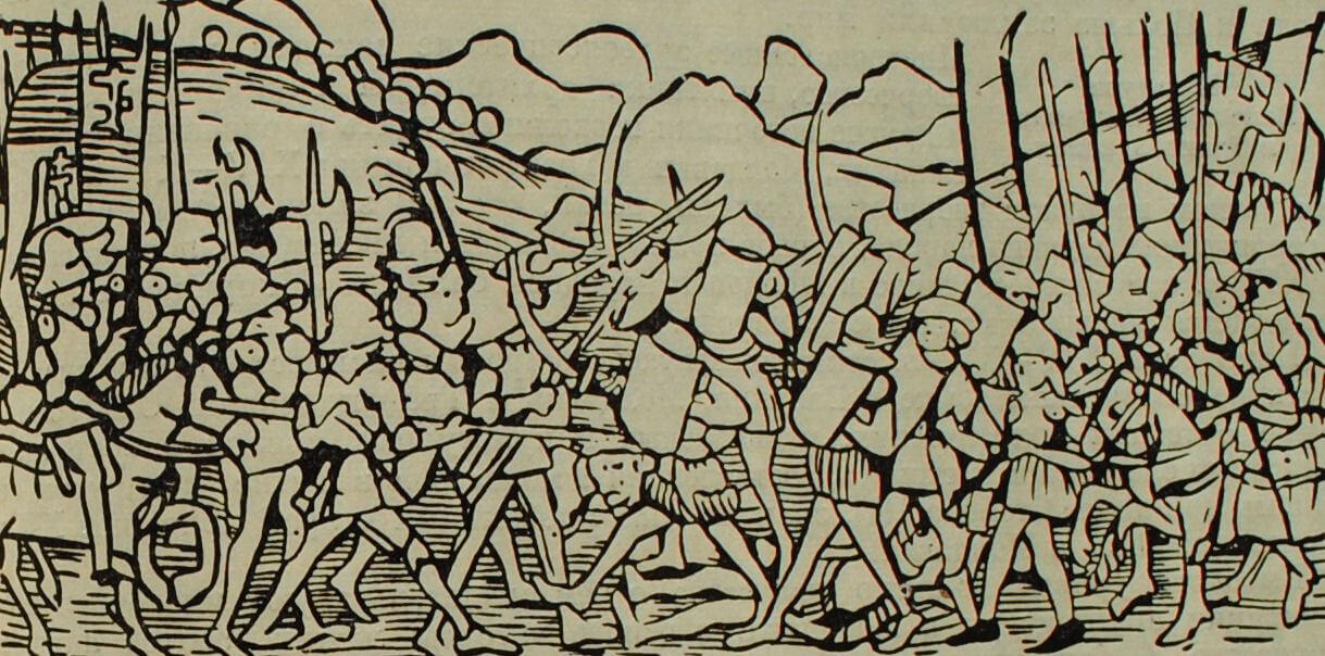 Битва молдаван с отрядами венгерских феодалов. Миниатюра из венгерской хроники. XV в.