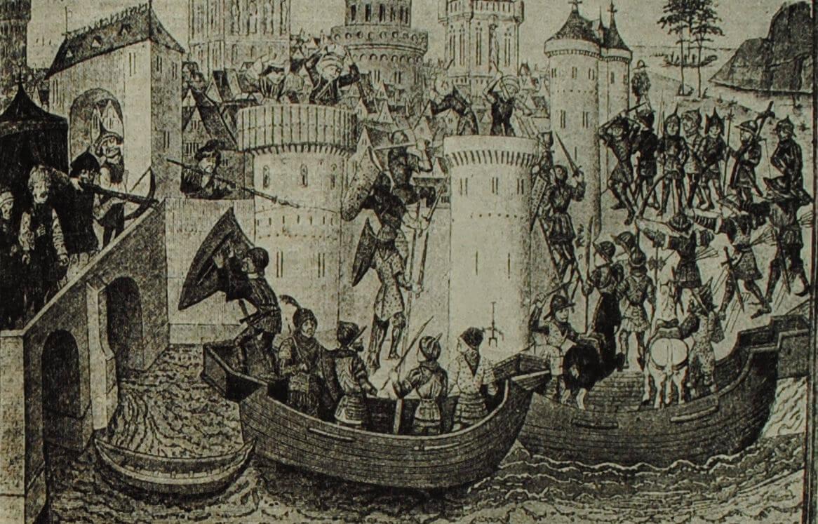 Взятие Константинополя турецкими войсками. Французская миниатюра. XV в.