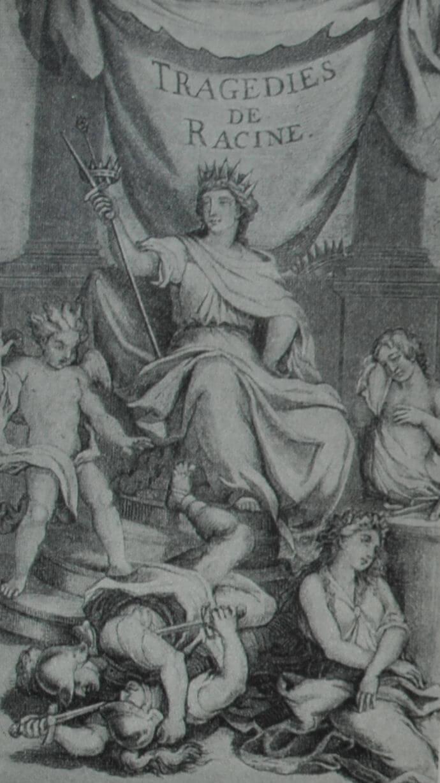 Фронтиспис первого издания пьес Расина, гравированный С. Леклерком по рисунку Ш. Лебрена. 1676 г.