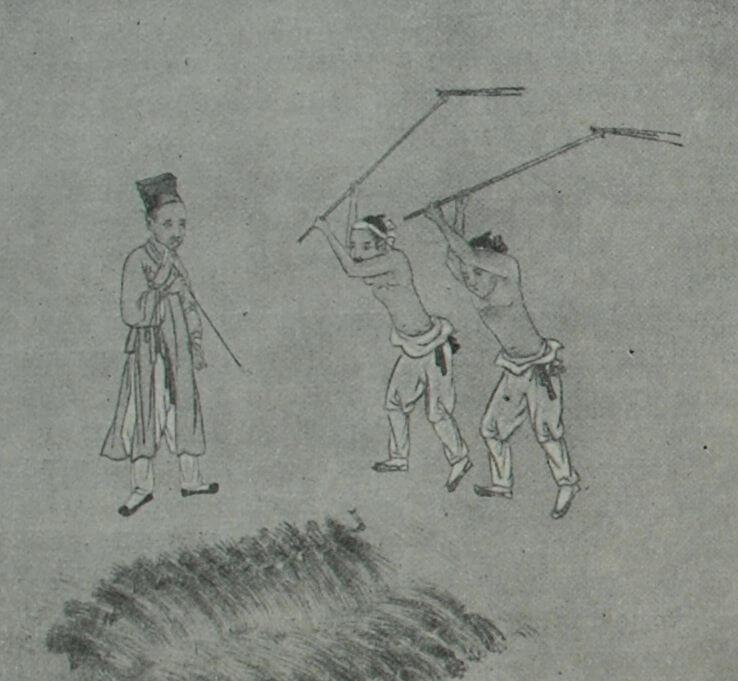 Молотьба. Рисунок из корейского альбома середины XIX в.