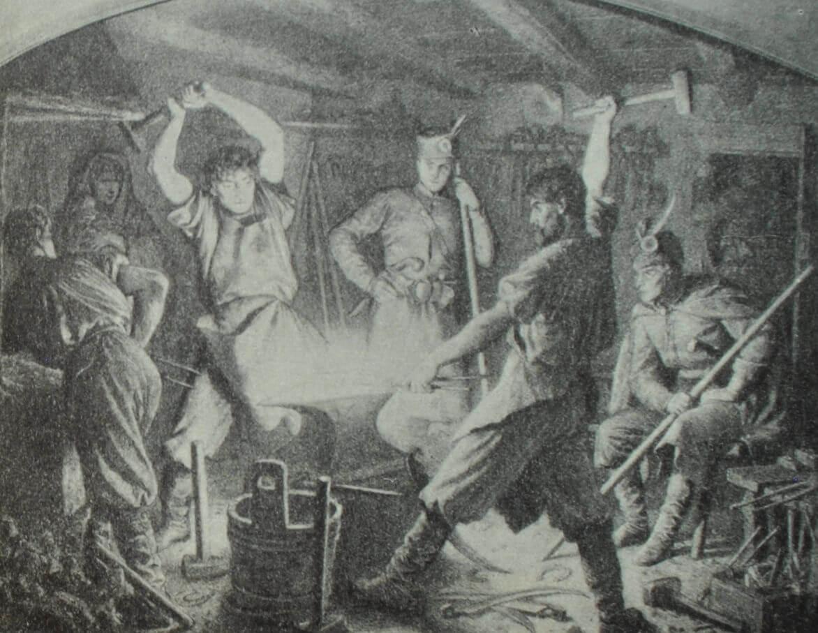 """""""Мы куем косы"""". А. Гроттгер. Из серии, посвященной польскому восстанию 1863 г."""