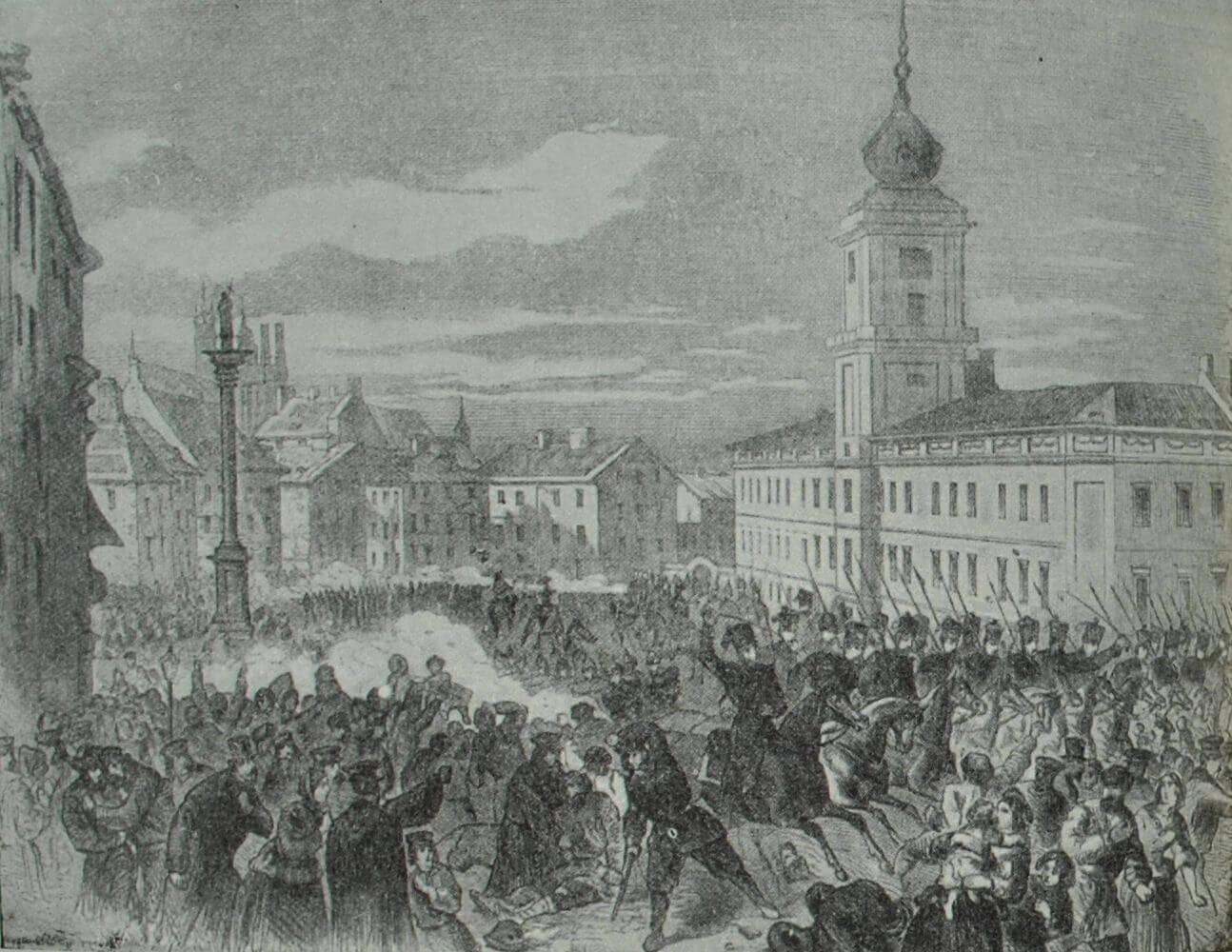 Разгон народной демонстрации в Варшаве 8 апреля 1861 г. Гравюра 1861 г.
