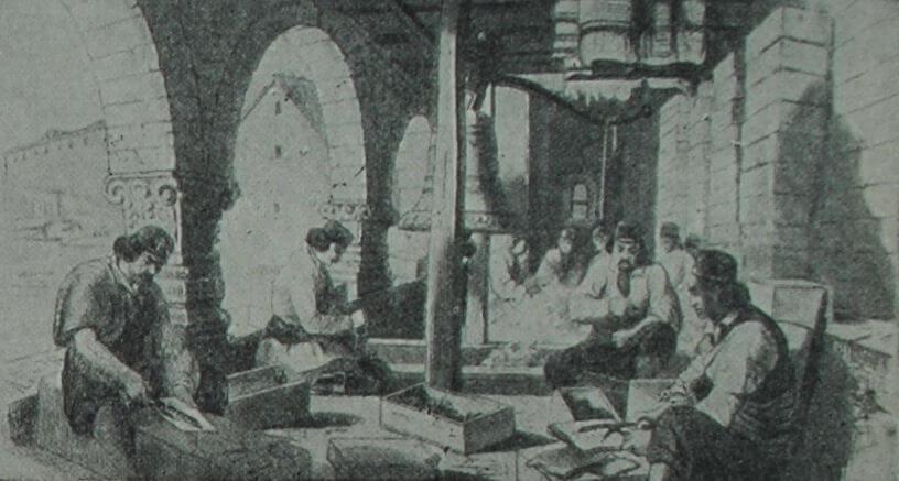 Изготовление ратронов черногорскими повстанцами в Цетинском монастыре. Гравюра по рисунку Ф. Канитца. 1858 г.
