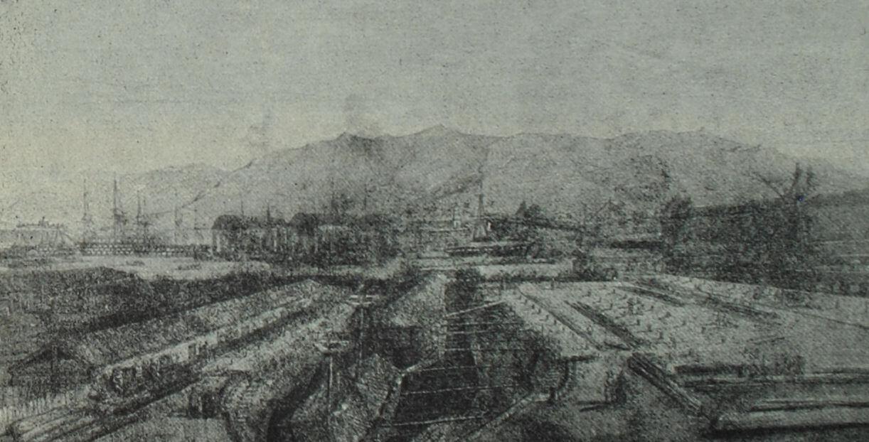 Верфь в Тулоне. Гравюра по рисунку П. Летюера. 1846 г.