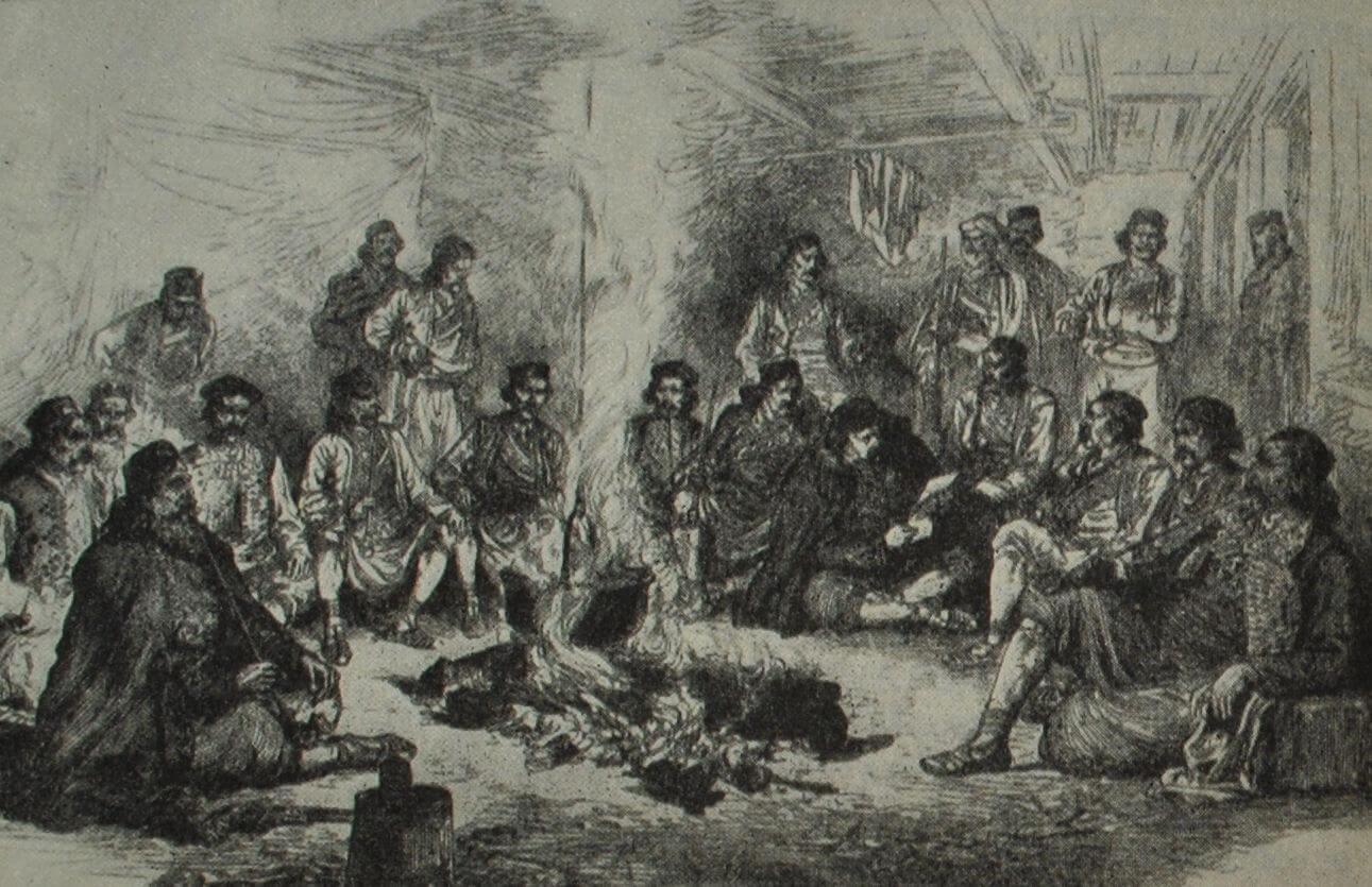Военный совет в лагере Пеко Павловича в Герцеговине. Гравюра. 1876 г.
