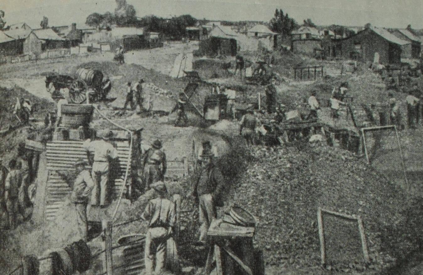 Разработки алмазов. Фотография. 1870 г.