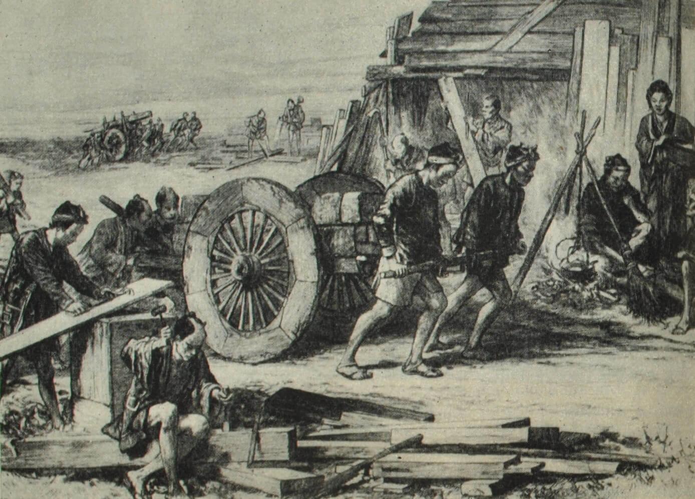 Строительные рабочие. Гравюра. 1872 г.