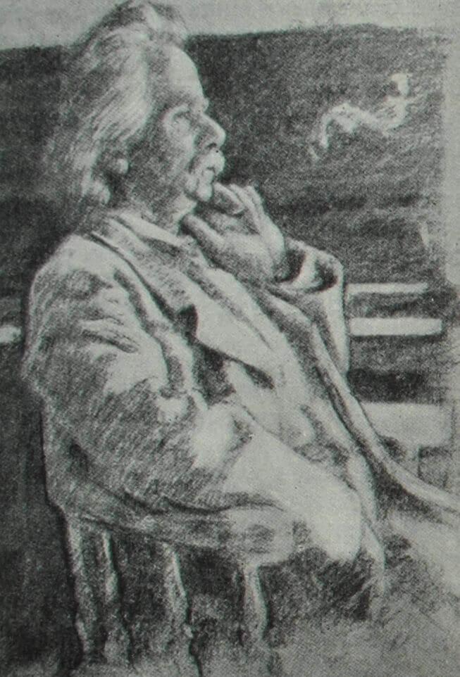 Эдвард Григ. Рисунок Э. Вереншёлля. 1902 г.
